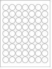 """1"""" Diameter 63UP Premium Bright White Laser & Inkjet Circle Labels with Removable Adhesive"""