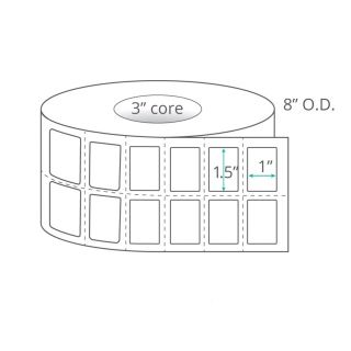 """1.5"""" x 1"""" (2-Across) Thermal Transfer Labels - Perforated"""