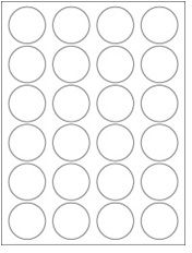 """1.625"""" Diameter 24UP Premium Bright White Laser & Inkjet Circle Labels with Removable Adhesive"""