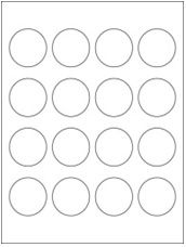 """1.75"""" Diameter 16UP Premium Bright White Laser & Inkjet Circle Labels with Removable Adhesive"""