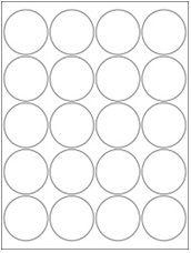 "2"" Diameter 20UP Premium Bright White Laser & Inkjet Circle Labels"