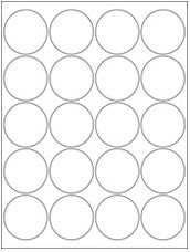 """2"""" Diameter 20UP Premium Bright White Laser & Inkjet Circle Labels with Removable Adhesive"""