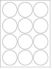 "2.5"" Diameter 12UP Premium Bright White Laser & Inkjet Circle Labels"