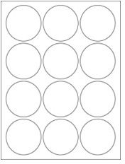 """2.5"""" Diameter 12UP Premium Bright White Laser & Inkjet Circle Labels with Removable Adhesive"""