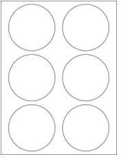 "3.33"" Diameter 6UP Premium Bright White Laser & Inkjet Circle Labels"