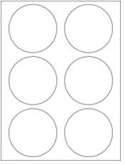 """3.33"""" Diameter 6UP Premium Bright White Laser & Inkjet Circle Labels with Removable Adhesive"""