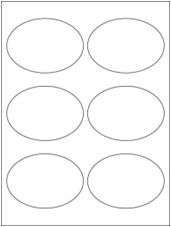 """3.875"""" x 2.6875"""" 6UP Premium Bright White Laser & Inkjet Oval Labels with Removable Adhesive"""