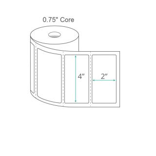 """4"""" x 2"""" Direct Thermal Labels - Perforated on 0.75"""" Core"""