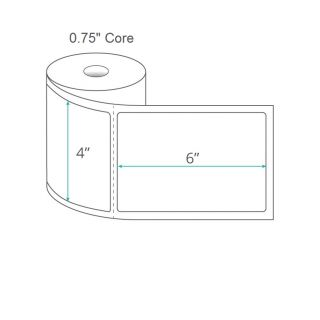 """4"""" x 6"""" Direct Thermal Labels - Perforated on 0.75"""" Core"""