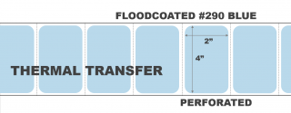 """4"""" x 2"""" Thermal Transfer Labels - Perforated - Floodcoated #290 Blue"""