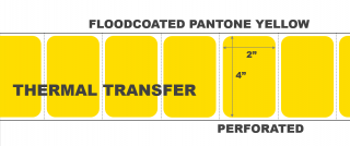 """4"""" x 2"""" Thermal Transfer Labels - Perforated - Floodcoated Pantone Yellow"""