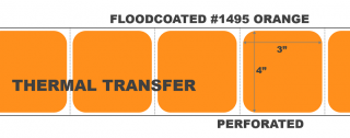 """4"""" x 3"""" Thermal Transfer Labels - Perforated - Floodcoated #1495 Orange"""