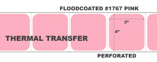 """4"""" x 3"""" Thermal Transfer Labels - Perforated - Floodcoated #1767 Pink"""