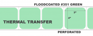 """4"""" x 3"""" Thermal Transfer Labels - Perforated - Floodcoated #351 Green"""