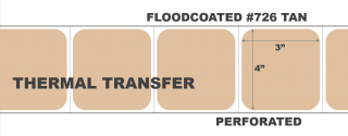 """4"""" x 3"""" Thermal Transfer Labels - Perforated - Floodcoated #726 Tan"""
