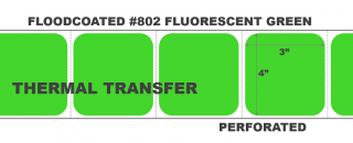 """4"""" x 3"""" Thermal Transfer Labels - Perforated - Floodcoated #802 Fluorescent Green"""