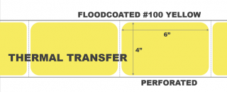 """4"""" x 6"""" Thermal Transfer Labels - Fanfolded - Floodcoated #100 Yellow"""