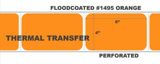"4"" x 6"" Thermal Transfer Labels - Fanfolded - Floodcoated #1495 Orange"