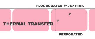 """4"""" x 6"""" Thermal Transfer Labels - Fanfolded - Floodcoated #1767 Pink"""