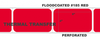 """4"""" x 6"""" Thermal Transfer Labels - Fanfolded - Floodcoated #185 Red"""