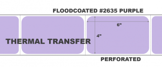 """4"""" x 6"""" Thermal Transfer Labels - Fanfolded - Floodcoated #2635 Purple"""