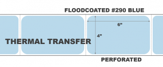 """4"""" x 6"""" Thermal Transfer Labels - Fanfolded - Floodcoated #290 Blue"""