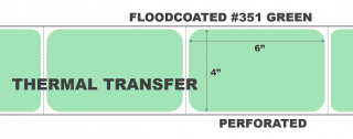 """4"""" x 6"""" Thermal Transfer Labels - Fanfolded - Floodcoated #351 Green"""