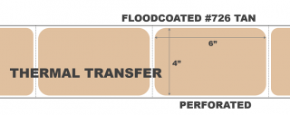 """4"""" x 6"""" Thermal Transfer Labels - Fanfolded - Floodcoated #726 Tan"""