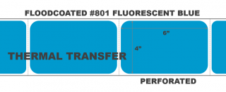 """4"""" x 6"""" Thermal Transfer Labels - Fanfolded - Floodcoated #801 Fluorescent Blue"""