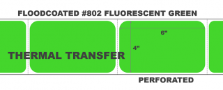 """4"""" x 6"""" Thermal Transfer Labels - Fanfolded - Floodcoated #802 Fluorescent Green"""