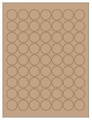 "1"" Diameter 63UP Brown Kraft Laser/Inkjet Labels"