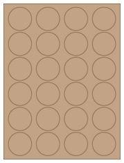 "1.625"" Diameter 24UP Brown Kraft Laser/Inkjet Labels"