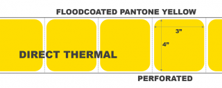 """4"""" x 3"""" Direct Thermal Labels - Perforated - Floodcoated Pantone Yellow"""