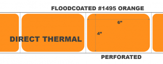 """4"""" x 6"""" Direct Thermal Labels - Perforated - Floodcoated #1495 Orange"""