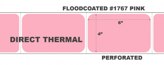 """4"""" x 6"""" Direct Thermal Labels - Perforated - Floodcoated #1767 Pink"""