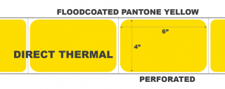 """4"""" x 6"""" Direct Thermal Labels - Perforated - Floodcoated Pantone Yellow"""