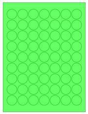 "1"" Diameter 63UP Fluorescent Green Circle Labels"