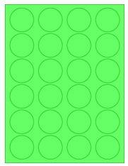 "1.625"" Diameter 24UP Fluorescent Green Circle Labels"