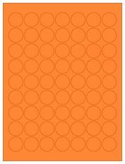 "1"" Diameter 63UP Fluorescent Orange Circle Labels"