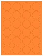 "1.625"" Diameter 24UP Fluorescent Orange Circle Labels"