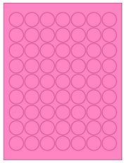 "1"" Diameter 63UP Fluorescent Pink Circle Labels"