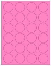 "1.625"" Diameter 24UP Fluorescent Pink Circle Labels"
