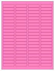 "1.75"" x 0.5"" 80UP Fluorescent Pink Laser Labels"