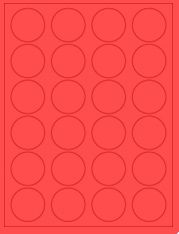 """1.625"""" Diameter 24UP Fluorescent Red Circle Labels"""