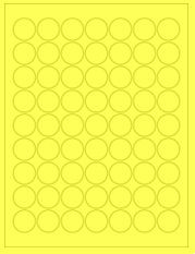 """1"""" Diameter 63UP Fluorescent Yellow Circle Labels"""