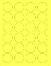 """1.625"""" Diameter 24UP Fluorescent Yellow Circle Labels"""