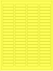 """1.75"""" x 0.5"""" 80UP Fluorescent Yellow Laser Labels"""