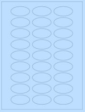 "2"" x 1"" 27UP Pastel Blue Oval Labels"