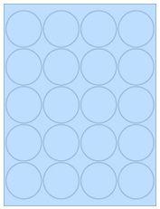 "2"" Diameter 20UP Pastel Blue Circle Labels"