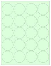 "2"" Diameter 20UP Pastel Green Circle Labels"